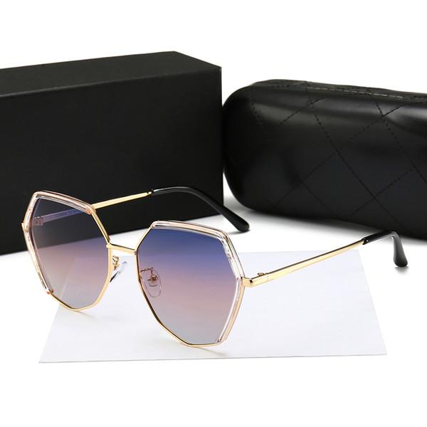 Eyewear2019 mujeres gafas de sol de personalidad damas castaña de agua ultra ligero polígono pequeña incienso C gafas de sol grandes