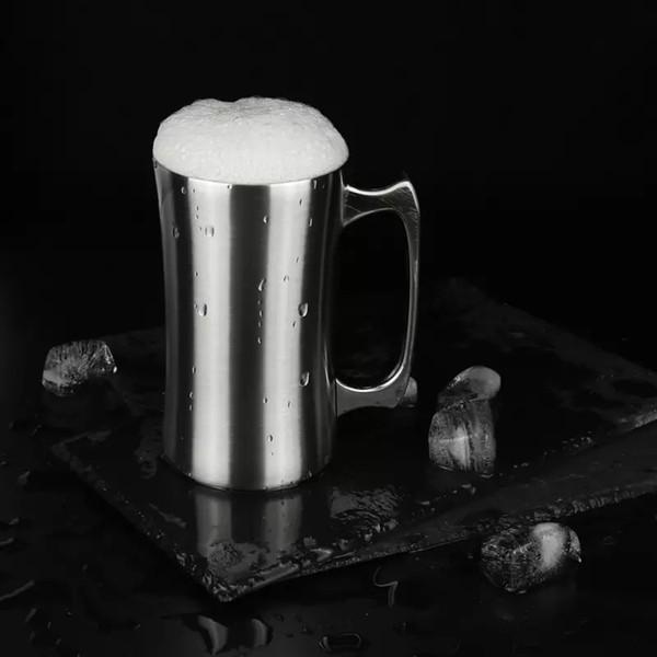 Tasse à bière en acier inoxydable Whoolesale 20oz avec poignée double paroi isolé sous vide grande capacité café tasse cocktail tasse froide