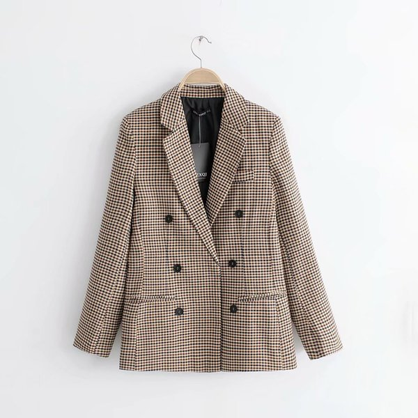 fashion2019 Wind Women's Clothes Lattice Loose Coat Ma'am Small Suit 015461