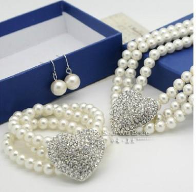 Venta al por mayor 2set / ljots perla diamante cristal 925 aguja de plata novia dama collar pulsera aretes conjunto regalo lujoso envío gratis 24rtr