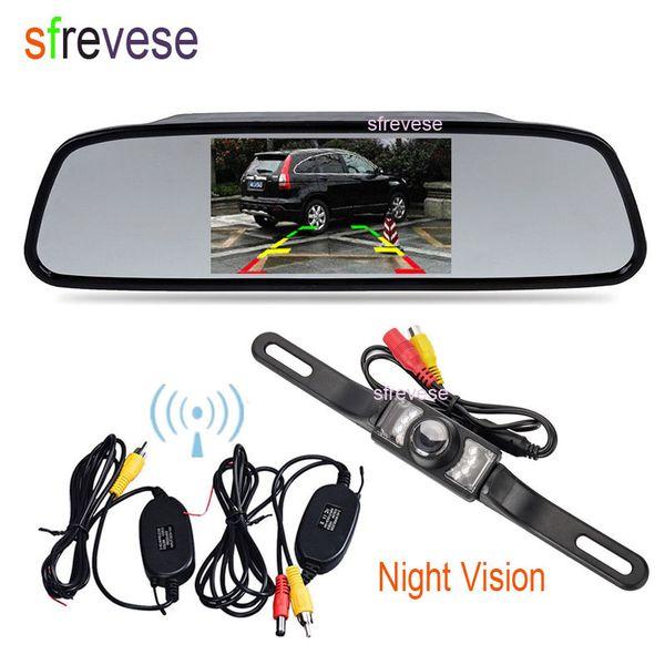 "top popular 4.3"" Car TFT LCD Mirror Monitor + Wireless Reverse Car IR Rear View Backup Camera Kit Free Shipping 2021"