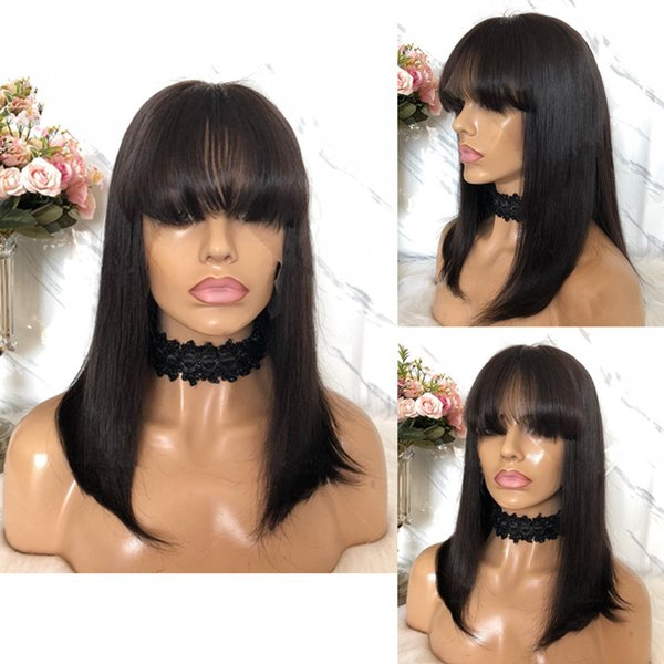 With bangs no tangle medium free shipping unprocessed virgin remy human hair natural color natural straight full lace cap wig for girl