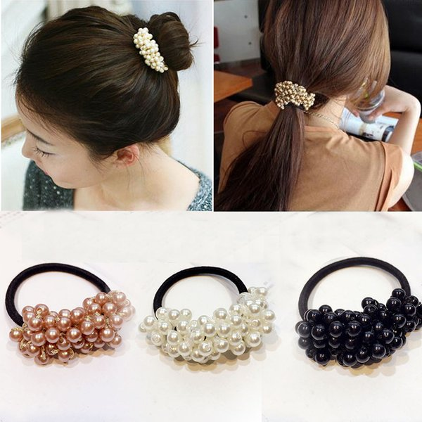 20pcsWomen Accessories Pearls Beads Headbands Ponytail Holder Girls Scrunchies Vintage Elastic Hair Bands Rubber Rope Headdress C19041201