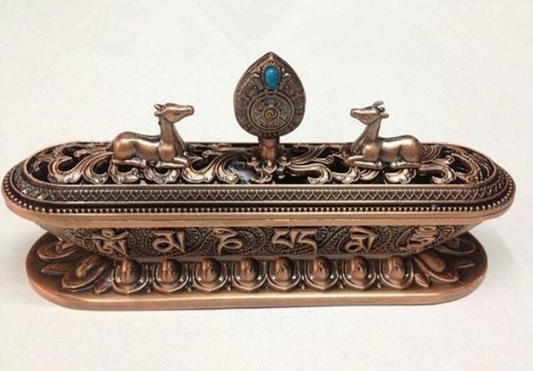 Artigianato Fabbrica dipinta in lega d'oro Bruciatore di incenso in lega tibetana Bruciatore di incenso in bronzo con decorazioni artigianali in metallo
