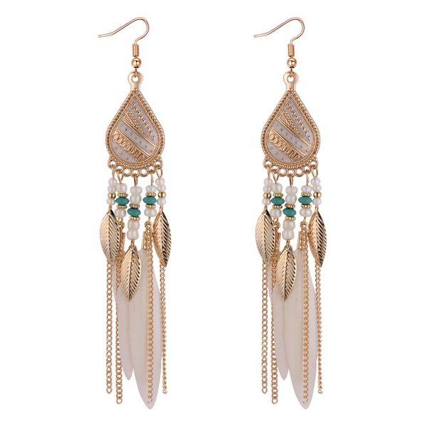 Bohemian feather Tassel Earrings Jewelry Retro Fashion Feather Fan Tassel Earrings Long Section designer earrings luxury designer jewelry