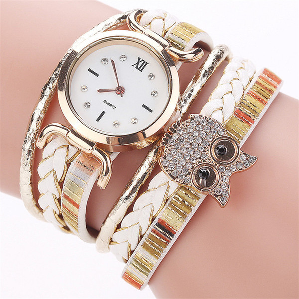 Luxury Owl Rhinestone Watch Women Watch Woven Leather Bracelet Clock Ladies Quartz Wristwatch National Style Kol Saati2019