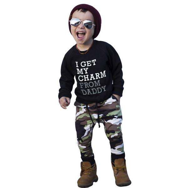 Малыш дети мальчик одежда мода Письмо печати Майка топы + камуфляжные брюки наряды комплект одежды Conjunto Inverno Menina