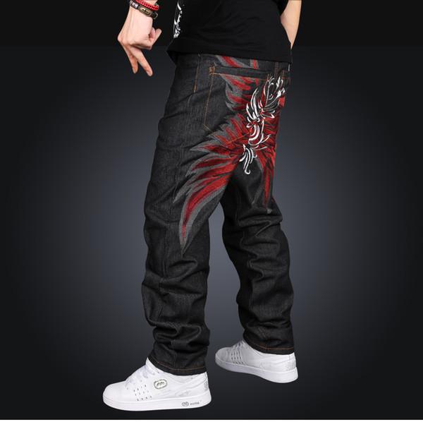 Jeans alla moda a vita media in denim da uomo di fascia alta Stile larghi larghi Paisley Pattern Cerniera a tutta lunghezza Jeans di colore nero