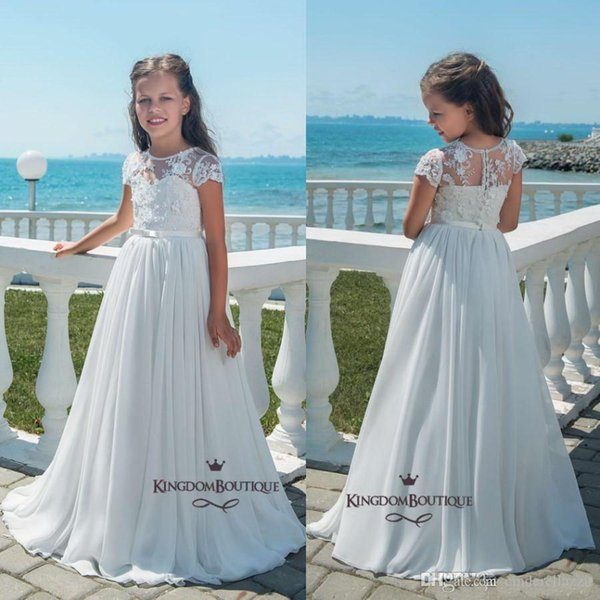 2019 Simple Cheap Ball Gown Flower Girl Dresses Tank Ruffles Handmade Flowers Tulle Tutu Vintage Little Baby Gowns For Performance Party