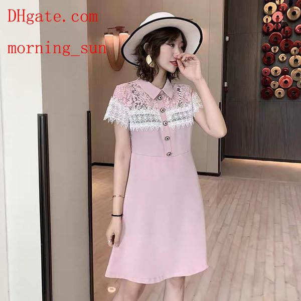 2019 marca mujer vestidos rosa sexy solapa encaje de encaje costura Hollow vestido delgado damas casual vestidos de alta calidad ropa de mujer MA-2