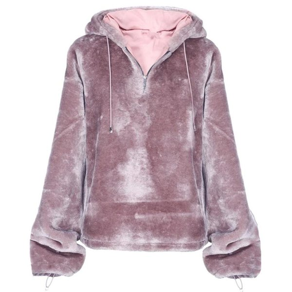 Fashion Flannel Women Hoodies Long Sleeves Harajuku Warm Solid Color Pullovertops Woman Casual Hooded Sweatshirt Sudadera Mujer