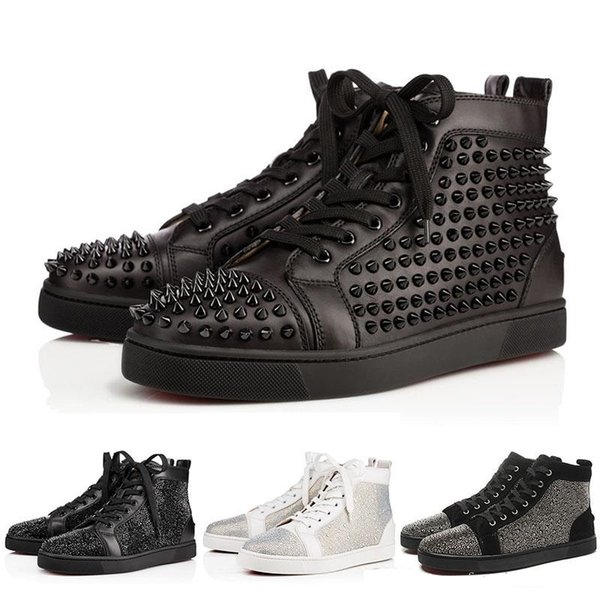 New Mens & Women Designer Studded Spikes Flats Red Bottom shoes Party Lovers Genuine Leather Sneakers 35-46 Wholesale