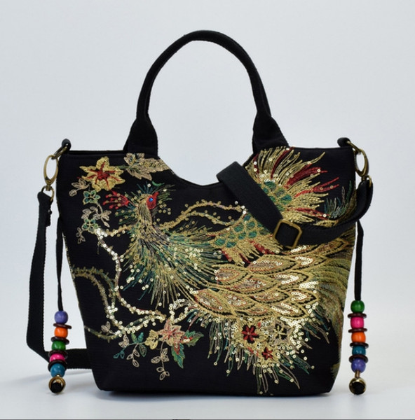2019 new Yunnan national wind embroidered bag canvas embroidery female middle-aged mother shoulder portable diagonal package