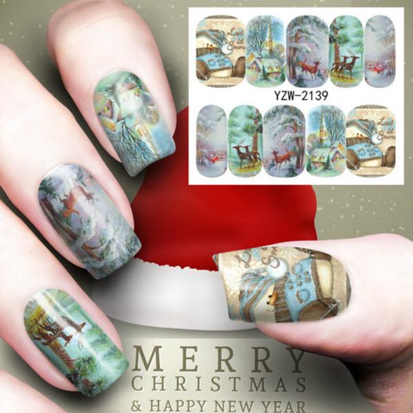 Buon Natale Hristmas Tree Nail Sticker Acqua Decalcomanie Nail Glitter Partito speciale Farfalla Transfer Nail Art Decoration