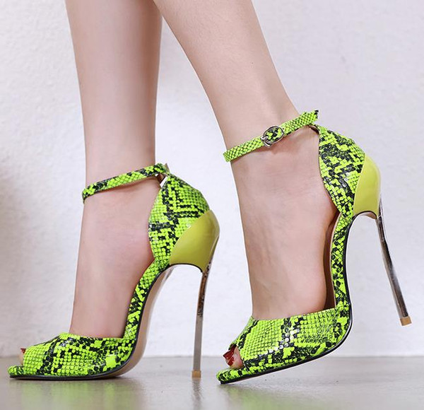 top popular Fashion designer shoes snake grain printed pointed toe ankle strap high heels size 34 to 40 Come With Box 2021