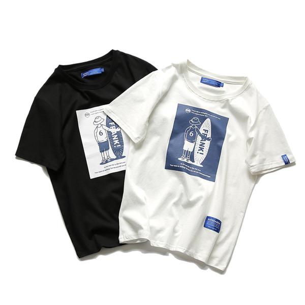 Camicie moda-uomo Harajuku Cotton Skateball Print sciolto manica corta estate nuova vendita calda magliette stile casual