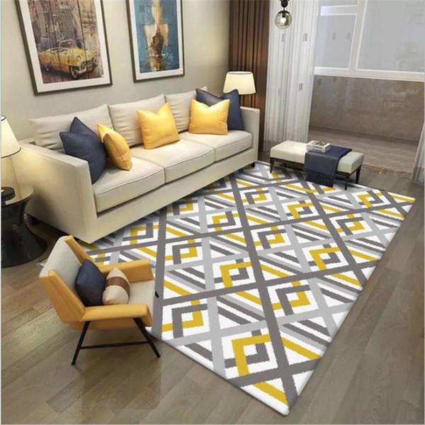 Grosshandel Nordic Geometrische Leuchtend Gelb Grau Cross Line Carpet Teppiche Fur Wohnzimmer Carpet Kinderzimmer Sofa Couchtisch Matte Von Bowse