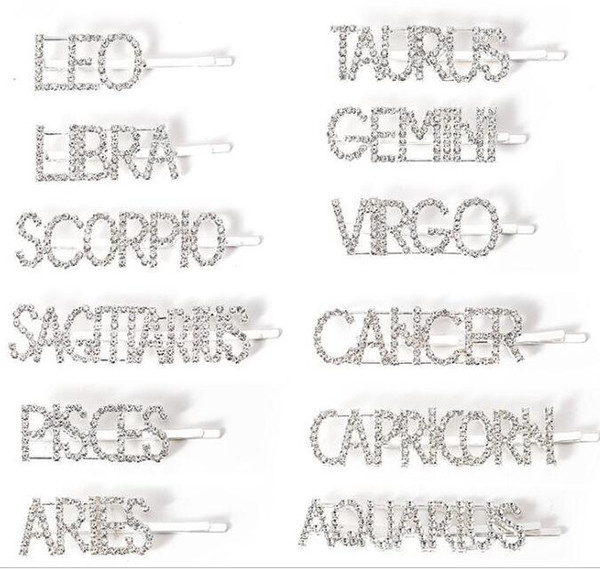 best selling 12 Zodiac rhinestone Hair pins Crystal Shiny Rhinestones Word Letters Hair Clips 12 constellations Diamond Hair Accessories