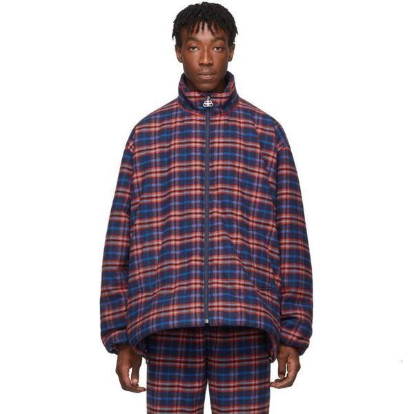19FW Rouge Bleu Lattice court Section coton Vestes classique Manteaux, rue d'extérieur hiver chaud Casual coton extérieur coupe-vent HFYMJK271