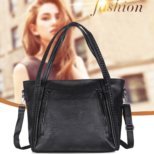 Solid Color Classic Ladies Pu Bag Large Capacity Shoulder Bag Multi-function Elegant Ladies Handbag