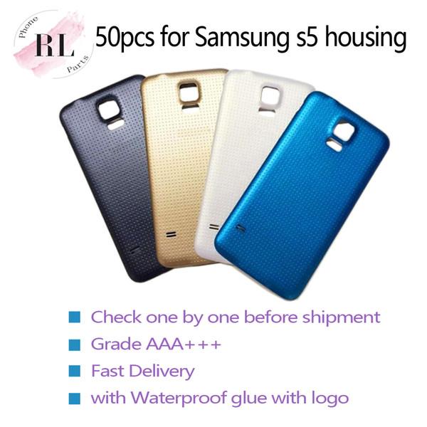 50 unids Reemplazo de la batería cubierta de plástico caso de la contraportada para Samsung Galaxy S5 G900F G900A G900T G900V con pegamento impermeable con logo