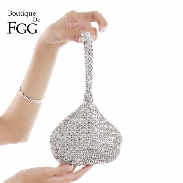 Fashion Brand Women Silver Clear Crystal Wristlets Handbags Purse Diamond Rhinestones Evening Wedding Prom Casual Clutch Bag