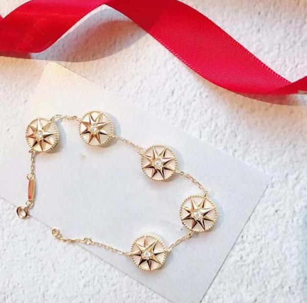 Bracciale in oro rosa Femmina in argento sterling 925 Stella a otto punte Fritillary Bracciale a cinque fiori con bussola Designer Rose Des Vents Gioielli 3 c