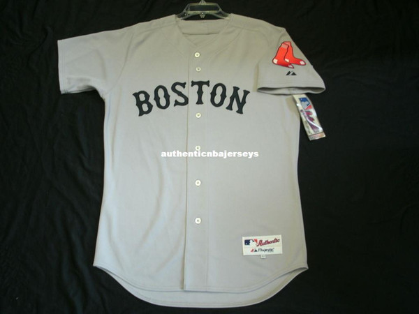 Pas cher Majestic BOSTON blank ROAD GREY IN GAME Maillot Homme Cousu En Gros Grand Et Grand Maillots De Baseball De Taille XS-6XL