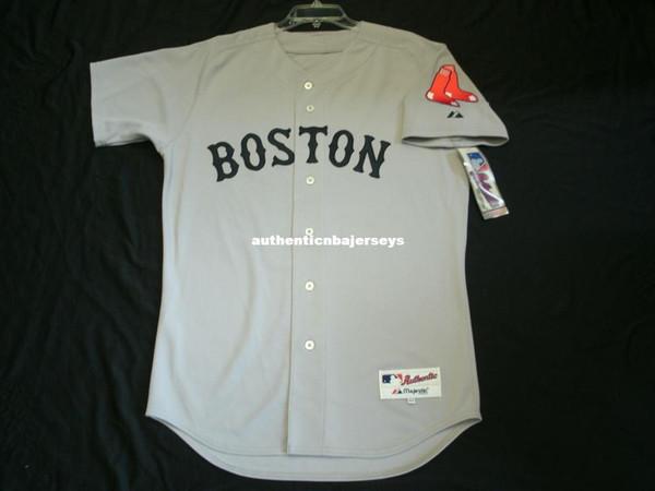 Дешевые Majestic BOSTON blank ROAD GREY IN GAME Мужские сшитые Оптом Большие И Высокие РАЗМЕРЫ XS-6XL бейсбольные майки