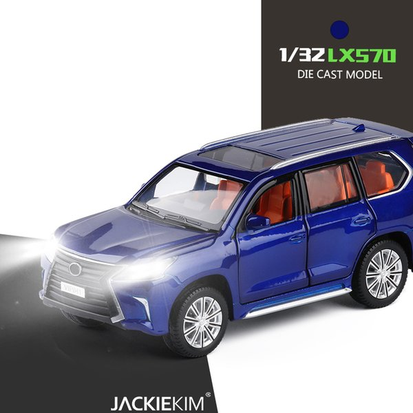 1:32 LX570 Music Light Alloy Metal Diecast Car Toy Gold White Black Blue Green Door Openable Pull Back Model Car Toys For kids