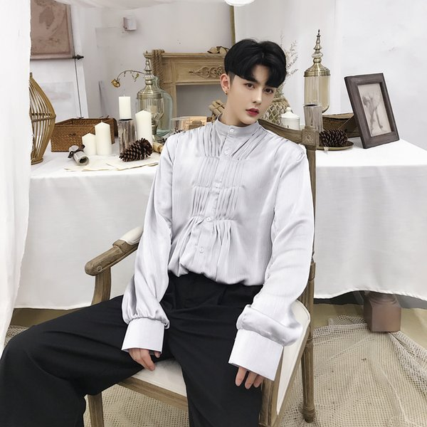 2019 Spring Autumn Gray Men's Tops England Style Court Clothing Long Sleeve Thin Shirt Tuxedo Shirts Models Singer Stage Clothes