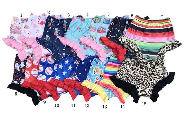 Baby Mädchen Shorts 4. Juli Bloomers Neugeborenen Rüschen PP Hosen Flamingo floral Windel umfasst kleine Mädchen Kleidung Kleinkind Kleidung 09012010