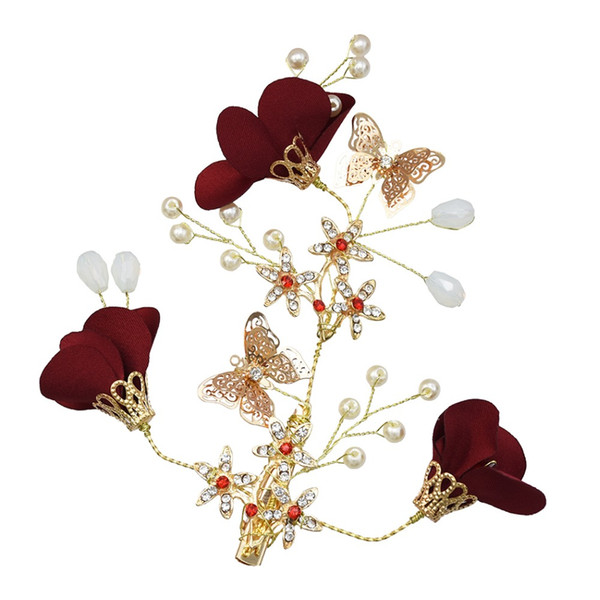 Girl Headdress Gold Barrettes Red Flowers Floral Hairpins Butterfly Pearls Princess Headpiece Wedding Hair Accessories