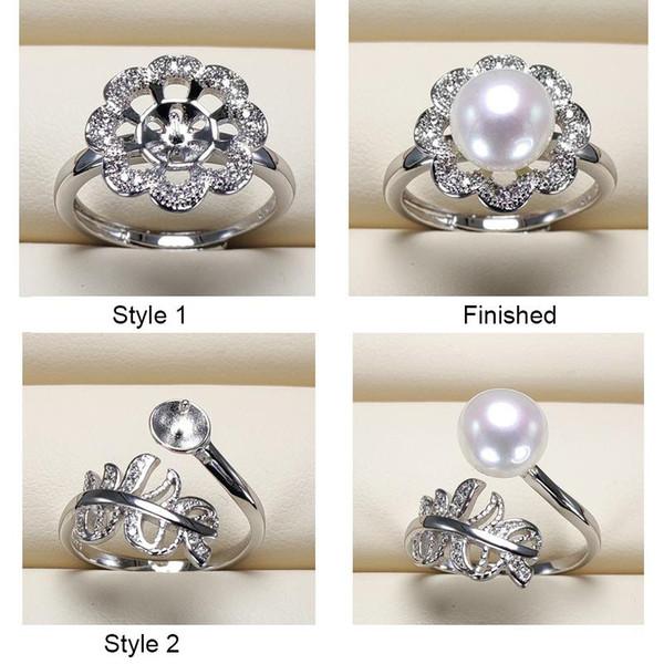 Anelli di perle fai da te in argento 925 anelli impostazioni zircone anello per le donne ragazza gioielli anello sottile dimensione regolabile regalo di san valentino 9 pezzi / lotto