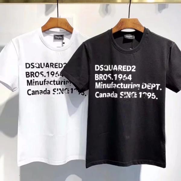 Мужская 2019 европейская и американская личность тенденция Письмо печати повседневная шею мода мужская с коротким рукавом футболка DT52202