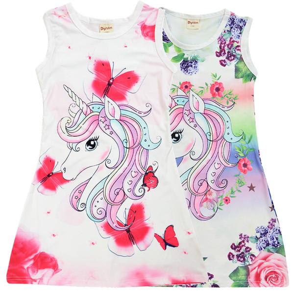 Новый дизайн единорог с цветочным принтом девушки платья 4-9 т детская летняя одежда девушки без рукавов платье джемперы детская дизайнерская одежда для девочек SS199