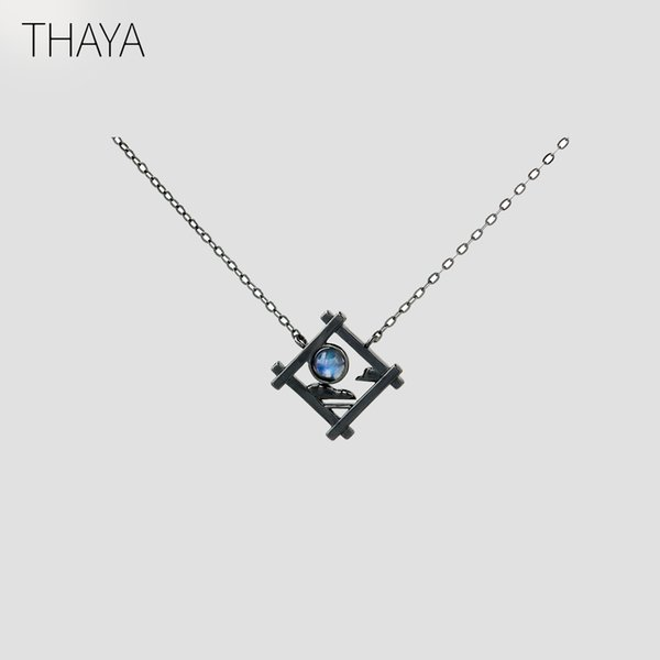 Thaya Endless Night Blue Natrual Moonstone Pendant Necklace S925 Silver Sky Window Cloud Mysterious Black Jewelry For Women Y19051602