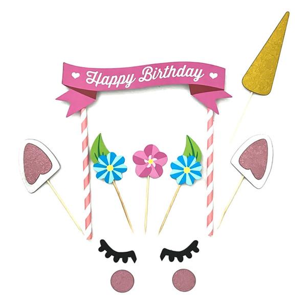 1 peça artesanal de ouro rosa cupcake assando decoração festa de aniversário feliz bandeira do bebê crianças decoração do partido decoração do bolo