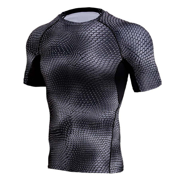 Gyms Muscle Bodybuilding Joggers Quick Dry Men T-shirts Compression Tight T Shirts 3d Printed Elastic Mens Tees Dropshipping