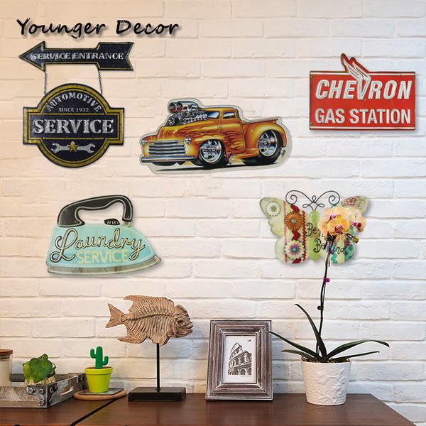 Retro Çamaşırhane Ev Dekorasyonu Otomotiv Servis Benzin İstasyonu Metal Resim Vintage Duvar Araç Dekorasyon YA042 SH190918 yılında Welcome Sign