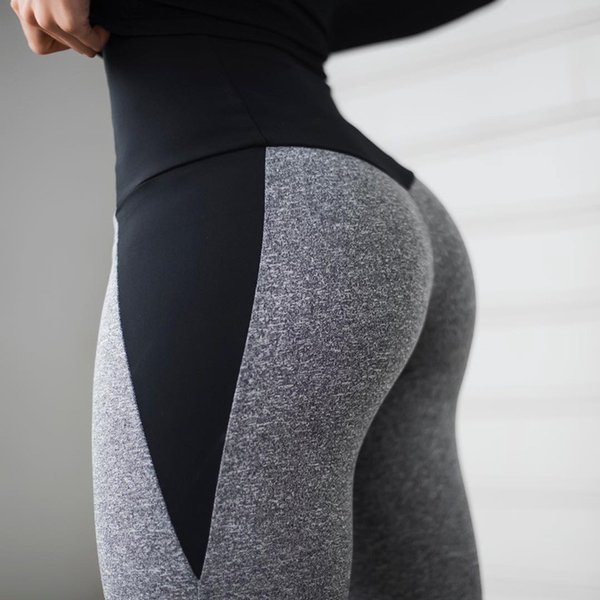 Black Gray Patchwork Fitness Leggings Women's High Waist Push Up Skinny Pants Elasticity Workout Thick Leggings For Women T190613
