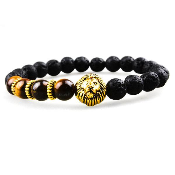 SN0640 Man Classic Black Bracelet Lava rock stretch bracelet with gold lion head charms bracelets