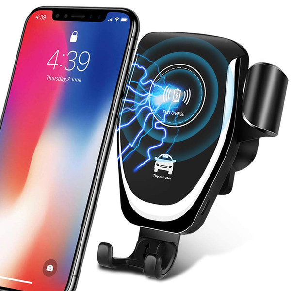 Wireless Car Charger Qi Fast Charge Car Kit Adjustable Gravity Ventilation Holder