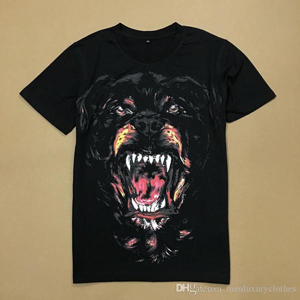 Erkekler Büyük KÖPEK BASKILI Tasarımcı Giyim Tees Yaz Siyah Moda Tişörtleri Hommes Tops