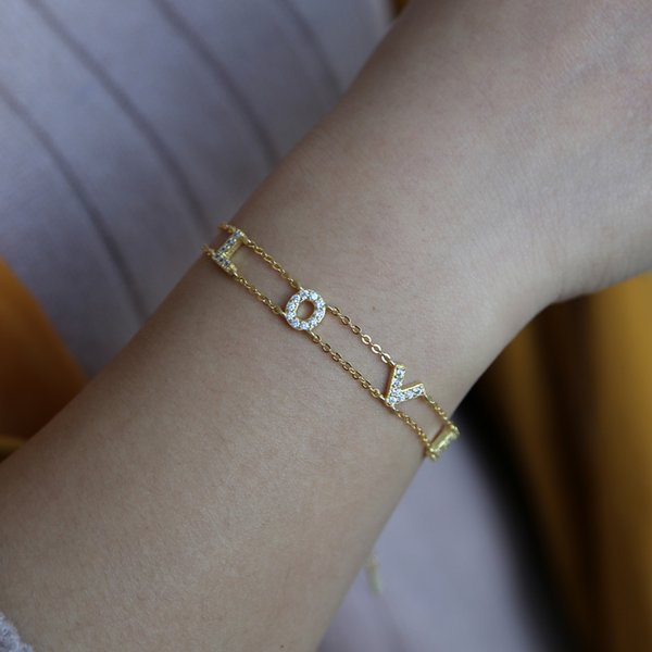 2018 valentines gift for lover love letter FINE 925 silver bracelet with biling cute CZ double chain girlfriend delicate Alphabet jewelry