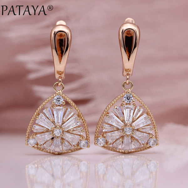 pataya new triangle long earring irregular square natural zircon fine wedding fashion jewelry 585 rose gold women hollow earring