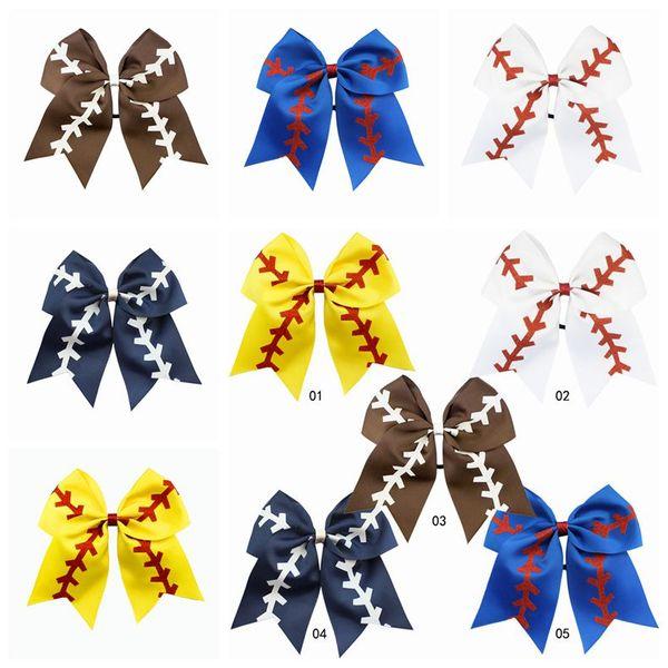 5 Colors Softball Baby Headband Girl Baseball Cheer Hairbands Rugby Bowknot Dovetail Hair Bow Cheerleading Hair Accessories CCA11479 1200pcs