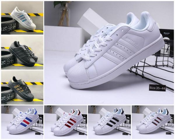 Zapatos casuales de ventas 2019 NUEVO súper estrella blanca holograma iridiscente junior Superstars 80 orgullo zapatillas Super Star Mujeres Hombres deporte 36-44