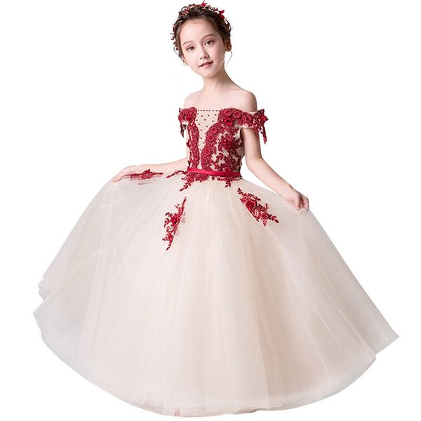 Romantic Champagne Tulle Flower Girls Dresses For Wedding Off shoulder with Burgundy Applique Lace Short Sleeves Aline First Communion Dress