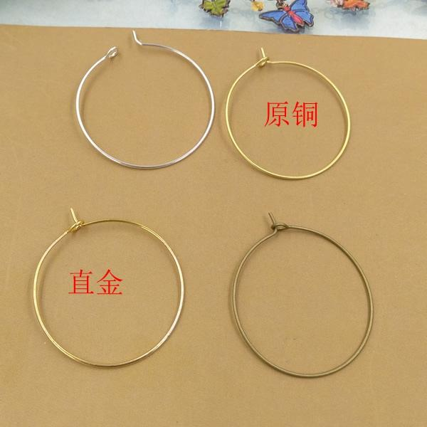 200pcs 30*0.7mm Anti-allergic pure copper ear ring hook silver earring hook clasps for jewelry making, rose gold earing findings component